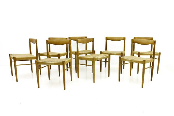 Oak Dining Room Chairs by H. W. Klein for Bramin, 1960s, Set of 8