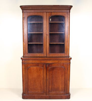 Large Antique Victorian Oak Gl Display Cabinet 1