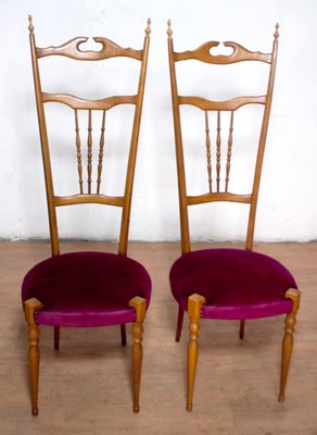 Italian Chiavari Chairs With High Backs, 1950s, Set Of 2