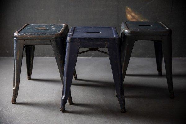 Astounding Industrial Blue Stools By Xavier Pauchard For Tolix 1940S Set Of 3 Inzonedesignstudio Interior Chair Design Inzonedesignstudiocom