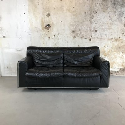 Mid Century Modern Black Leather 2 Seater Sofa From Knoll 1970s 1