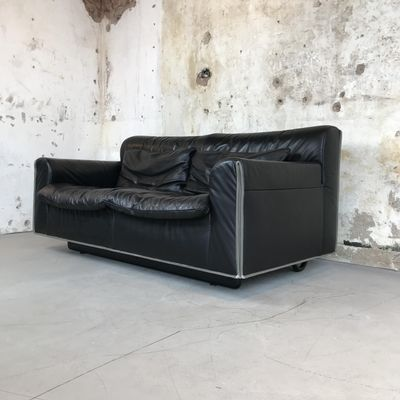 Mid-Century Modern Black Leather 2-Seater Sofa from Knoll, 1970s for ...