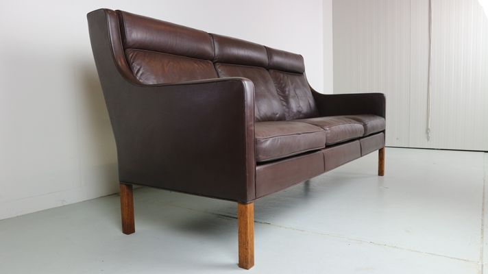 Model 2433 Three-Seat Leather Sofa by Børge Mogensen for Fredericia ...