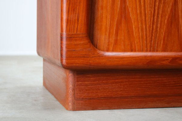 Danish Teak Credenza : Danish teak credenza with tambour doors from dyrlund 1950s for sale