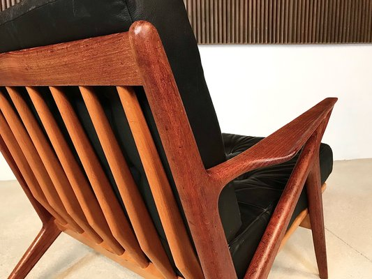 Enjoyable Z Chair In Leather Teak By Poul Jensen For Selig 1950S Download Free Architecture Designs Scobabritishbridgeorg