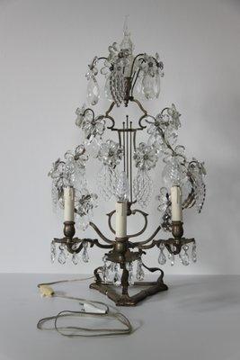 Tavoli In Cristallo E Acciaio.Lampada Da Tavolo Antica In Cristallo E Acciaio Fine Xix Secolo