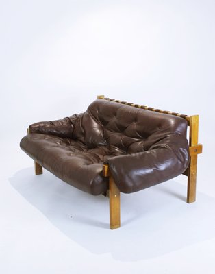 Mid-Century Modern Tufted & Distressed Leather Sofa, 1970s