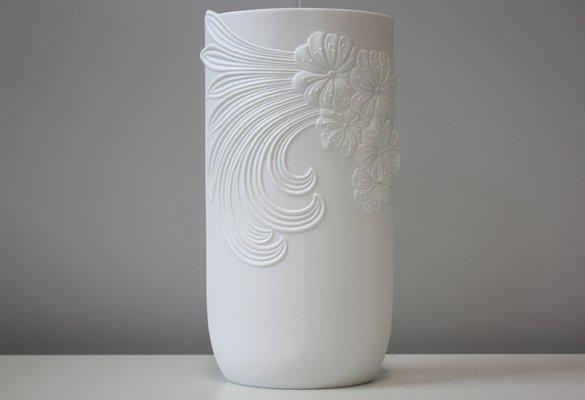 Large Vintage White Bisque Porcelain Vase by M  Frey for AK Kaiser