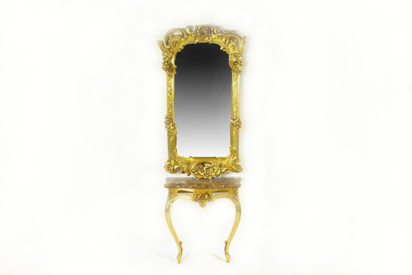 Antique Louis Xv Console Mirror Set