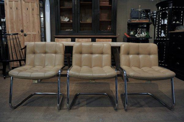 Beigefarbene Stuhle Mit Bezug Aus Leder Gestell Aus Chrom Von Airborne 1970er 3er Set