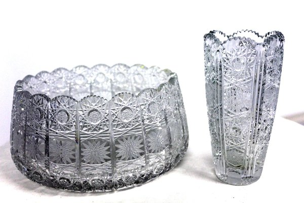 Antique Polished Lead Crystal Bowl For