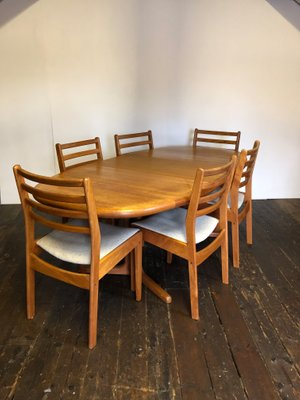 Magnificent Mid Century Danish Teak Extending Dining Table 6 Chairs Beutiful Home Inspiration Xortanetmahrainfo