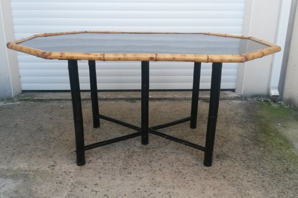 e644725b2e87 Bamboo Dining Table with Black Lacquer, 1950s for sale at Pamono