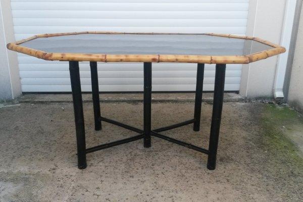 Table De Salle à Manger En Bambou Avec Laque Noire 1950s En Vente