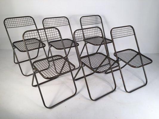 Sedie pieghevoli in metallo di niels gammelgaard per ikea anni