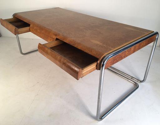 Mid Century Schreibtisch Aus Eiche Chrom 1960er Bei Pamono Kaufen