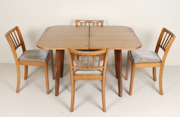 Vintage Oak Dining Table And 4 Chairs For Sale At Pamono
