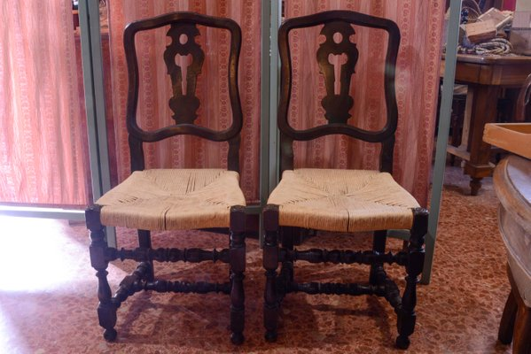 Antique Italian Wood & Straw Chairs, ... - Antique Italian Wood & Straw Chairs, Set Of 2 For Sale At Pamono