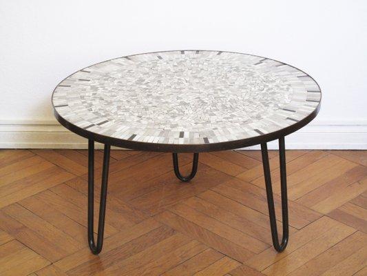 Table Basse en Mosaïque et Laiton par Berthold Müller, 1950s en ...
