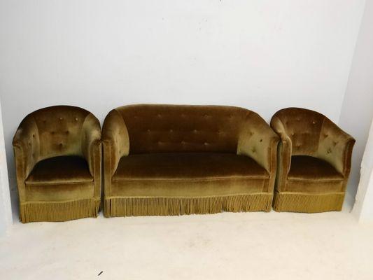 Grünes Vintage 2 Sitzer Sofa Mit Bezug Aus Angorawolle Sessel
