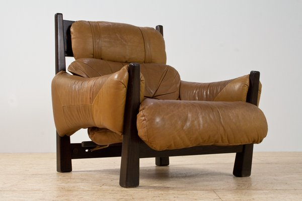 Astounding Brazilian Modern Brown Leather Lounge Chair 1960S Onthecornerstone Fun Painted Chair Ideas Images Onthecornerstoneorg