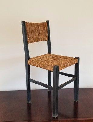 Chaise d\'Appoint en Bois Noirci et en Corde par Francis Jourdain ...