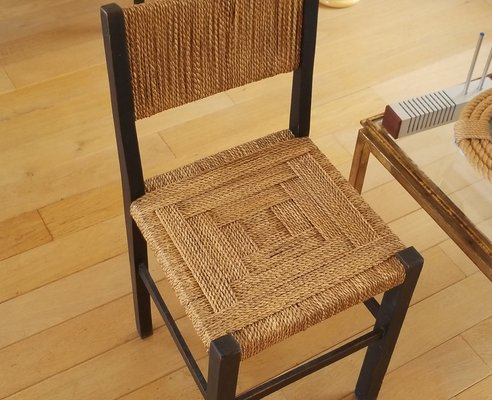 Sedia in legno ebanizzato e corda di francis jourdain anni in
