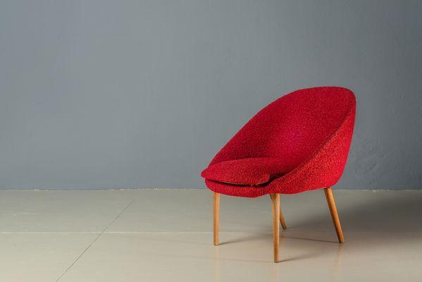 Sedie vintage rosse a forma di conchiglia anni set di in