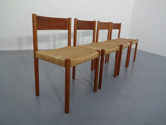 Teak Papercord Dining Chairs By Poul M Volther For Frem Røjle 1960s