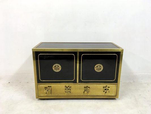 Vintage Black Lacquer And Brass Cabinet From Mastercraft 1