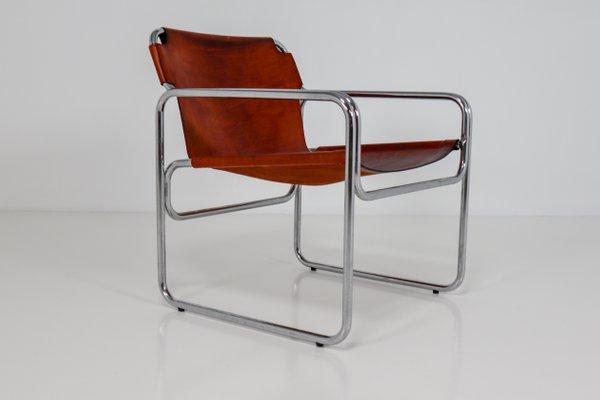 Bauhaus Tubular Steel Saddle Leather Chair 1960s 102700