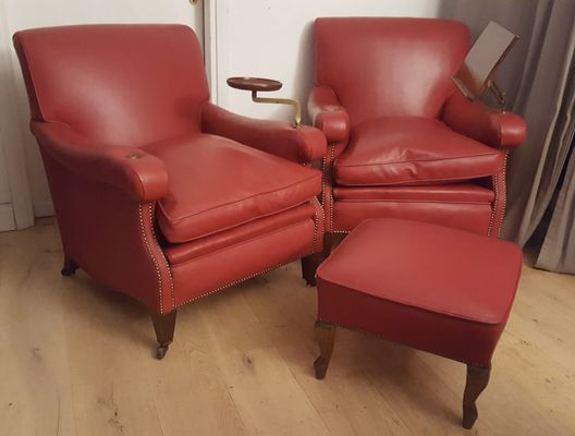 Vintage 2 Leather Armchairs And Ottoman 1950s For Sale At Pamono