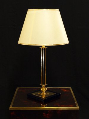 Hollywood Regency Brass Table Lamp, Brass Square Base Table Lamp
