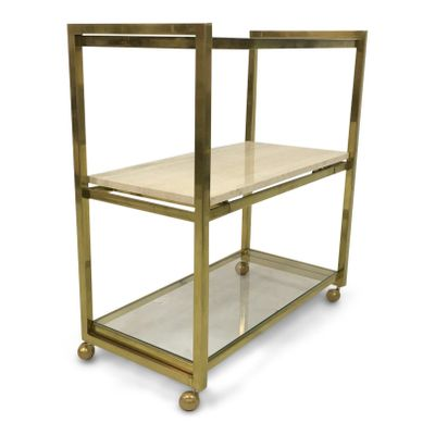Vintage Metal And Travertine Drinks Trolley For Sale At Pamono