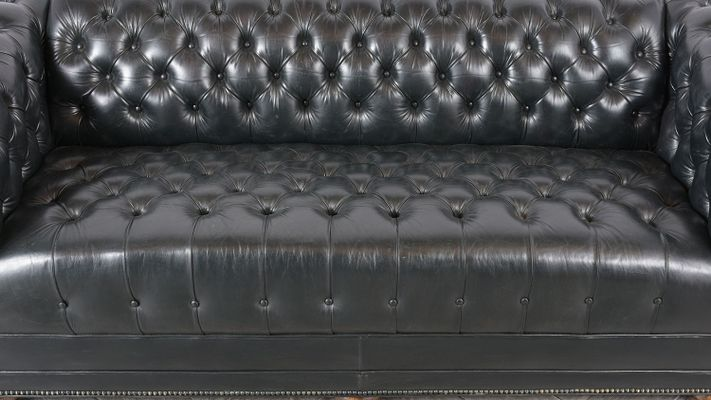 Vintage Chesterfield Style Tufted Leather Sofa, 1970s