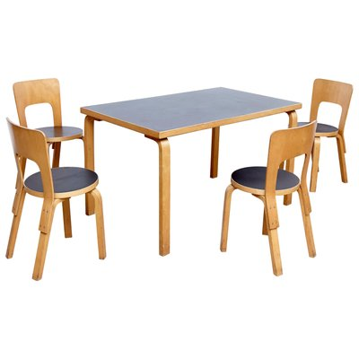 Brilliant Vintage Dining Table And Chairs By Alvar Aalto 1970S Cjindustries Chair Design For Home Cjindustriesco
