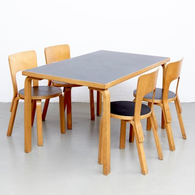 Vintage Dining Table And Chairs By Alvar Aalto 1970s For Sale At Pamono