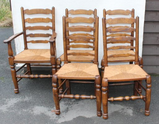 pretty nice 01a78 67937 Oak Ladderback Chairs, 1940s, Set of 5