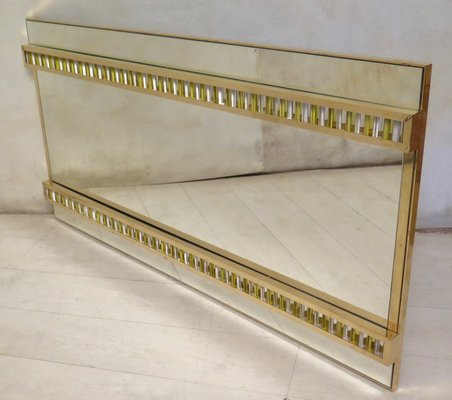 6ddb6b8a4ed0a Mid-Century Italian Brass and Glass Wall Mirror