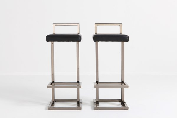 Marvelous Chrome And Black Leather Bar Stools From Maison Jansen 1980S Set Of 2 Gmtry Best Dining Table And Chair Ideas Images Gmtryco