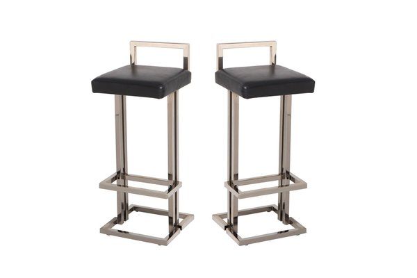 Marvelous Chrome And Black Leather Bar Stools From Maison Jansen 1980S Set Of 2 Creativecarmelina Interior Chair Design Creativecarmelinacom