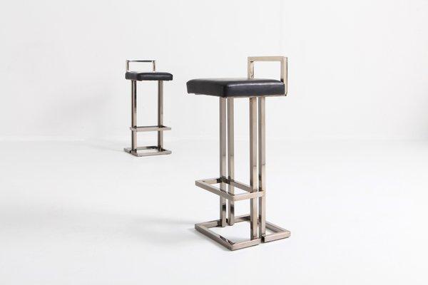 Sensational Chrome And Black Leather Bar Stools From Maison Jansen 1980S Set Of 2 Short Links Chair Design For Home Short Linksinfo