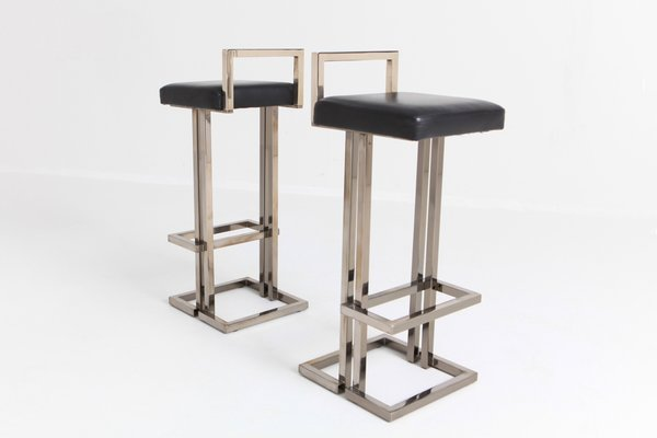 Astounding Chrome And Black Leather Bar Stools From Maison Jansen 1980S Set Of 2 Andrewgaddart Wooden Chair Designs For Living Room Andrewgaddartcom