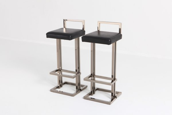Amazing Chrome And Black Leather Bar Stools From Maison Jansen 1980S Set Of 2 Pabps2019 Chair Design Images Pabps2019Com
