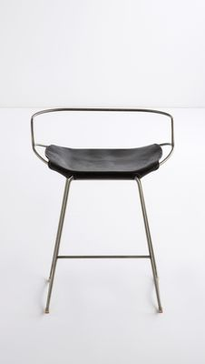 Surprising Old Silver Steel Black Vegetable Tanned Leather Hug Arm Counter Stool By Jover Valls Alphanode Cool Chair Designs And Ideas Alphanodeonline