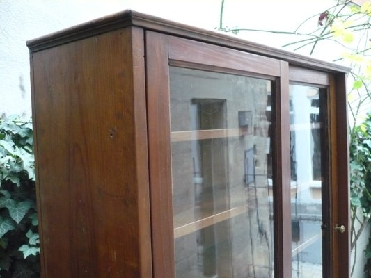 Industrial Glass Cabinet With Sliding Doors, 1920s