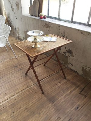 Antique Wood Folding Table 1900s 4