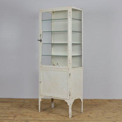 new york 9c9db e56e4 Vintage Industrial Iron & Glass Medicine Cabinet, 1940s