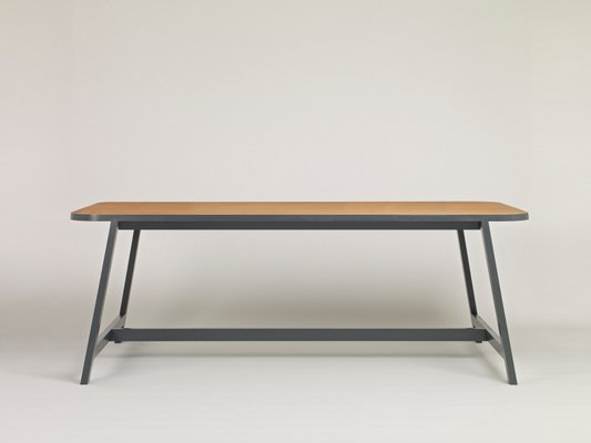 Large Grey Lacquered Oak Dining Table