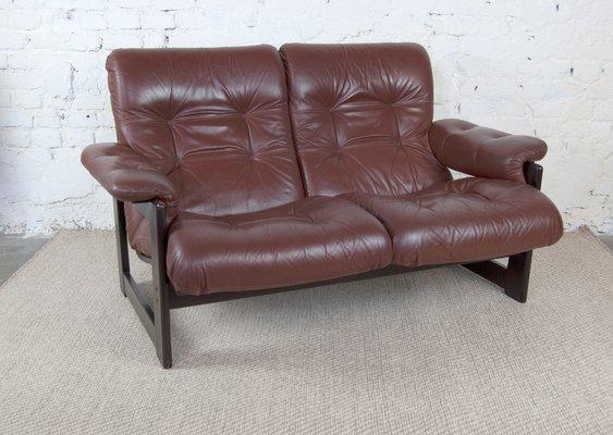 Vintage Leather U0026 Rosewood Sofa, 1960s